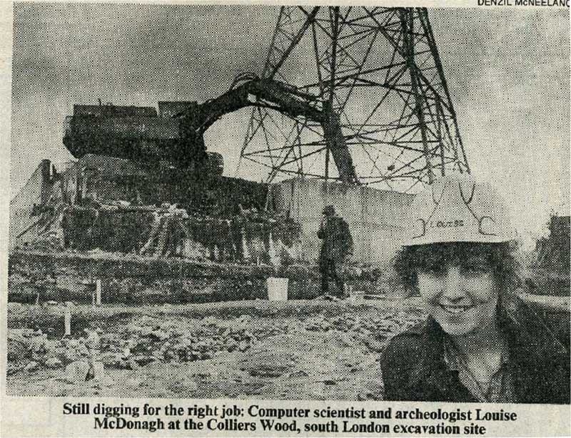 Merton Priory Excavation 1988 Louise McDonagh Press Cutting