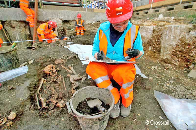 Archaeologist Dalia Anna Pokutta on the Bedlam burial ground excavation (XSM10) © Crossrail