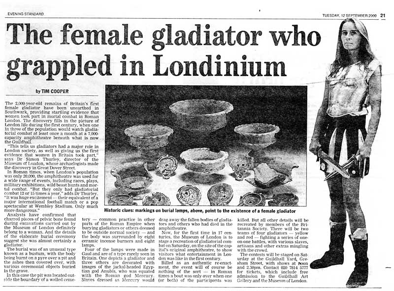 Gladiatrix Article in Evening Standard 12th September 2000