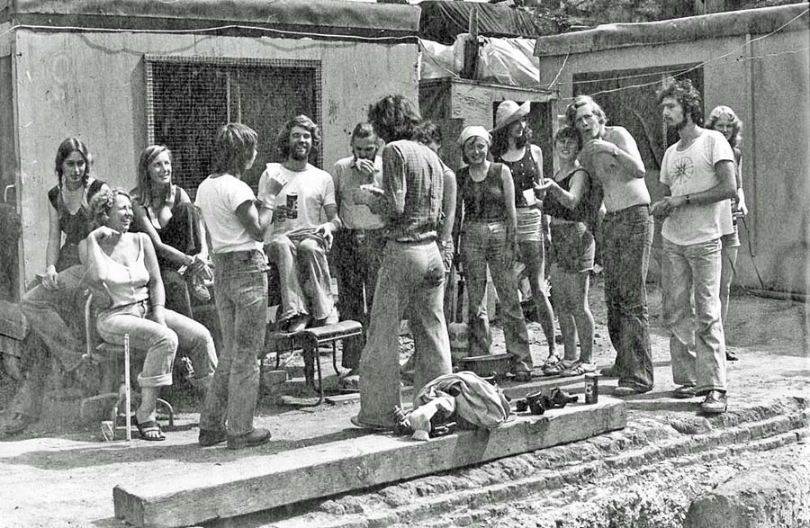 Outdoor party time at the GPO75 site 1978