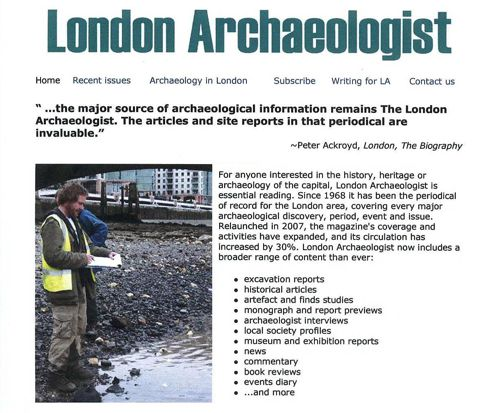London Archaeologist webpage
